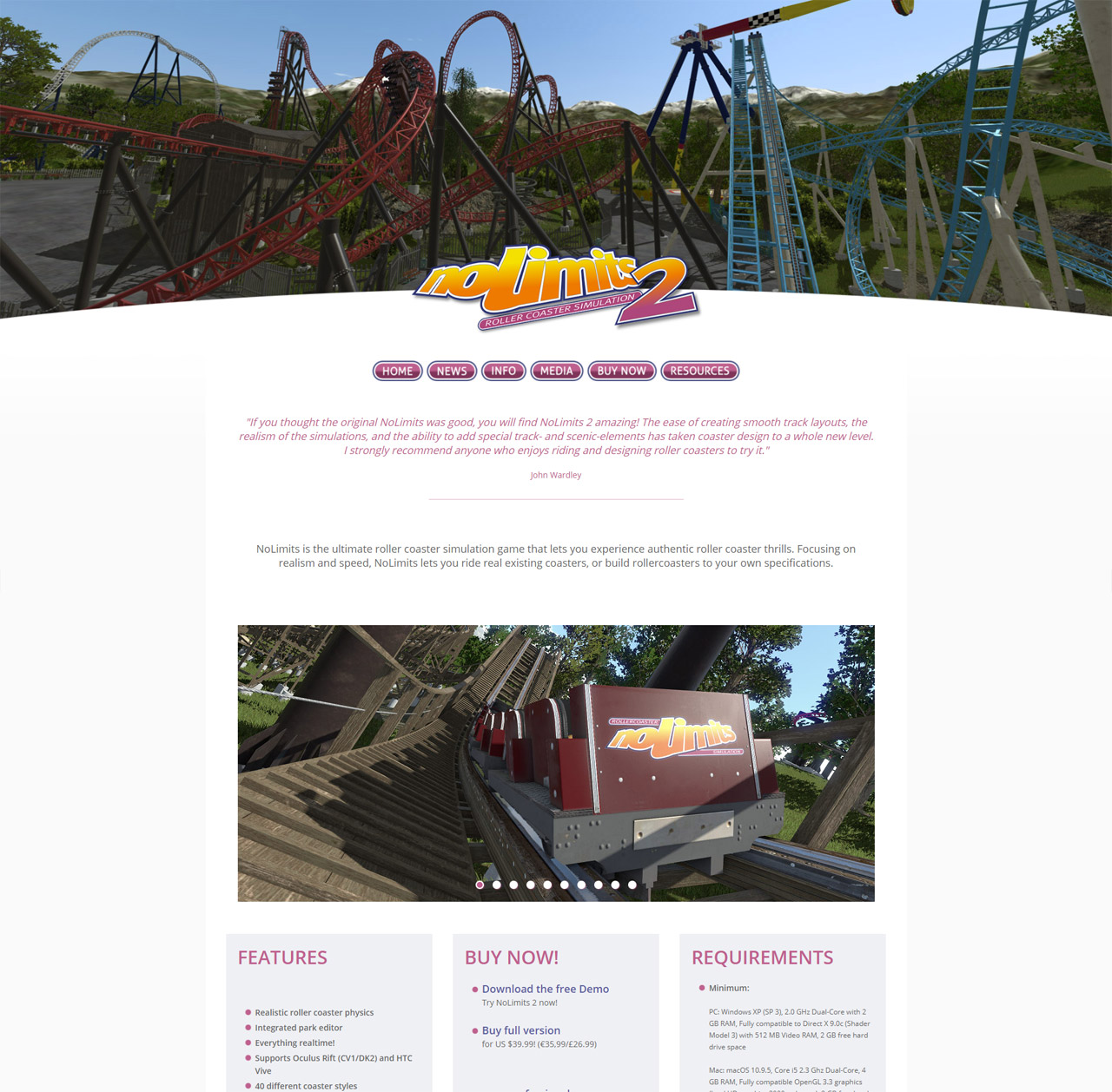 Webdesign: NoLimits Roller Coaster Simulation